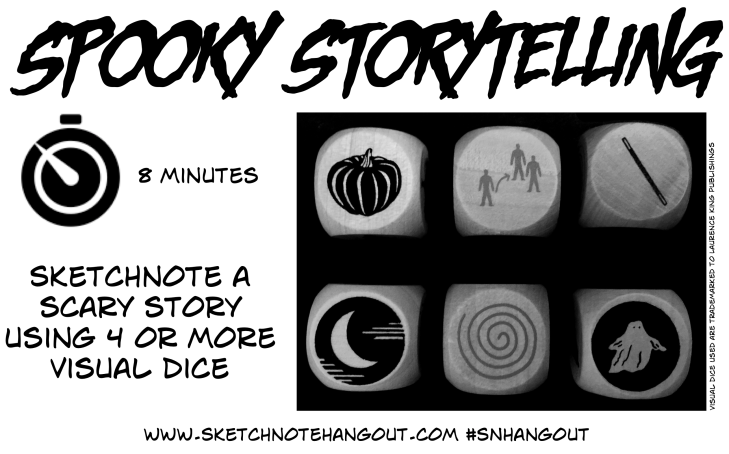 Visual Dice and Task 'Sketchnote a Scary Story using 5 or more visual dice' in 8 minutes.