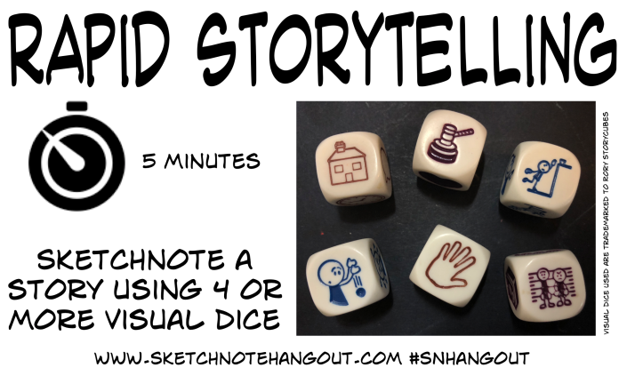 5 minute warm up task using 6 rorys storycubes
