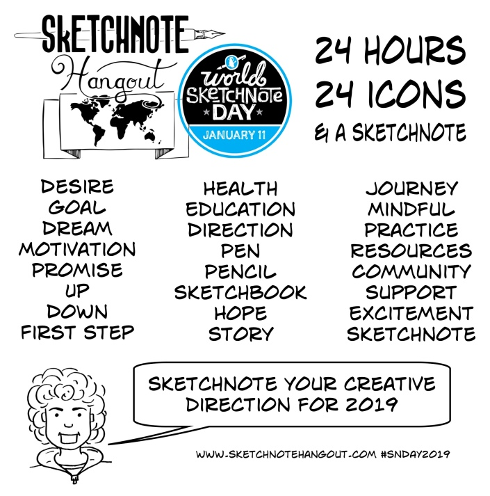 Icon words: Desire, Goal, Dream, Motivation, Promise, Up, Down, First Step, Health, Education, Direction, Pen, Pencil, Sketchbook, Hope, Story, Story, Journey, Mindful, Practice, Resources, Community, Support, Excitement, Sketchnote. Sketchnote task: sketchnote your creative direction for 2019. Share on twitter using #SNday2019