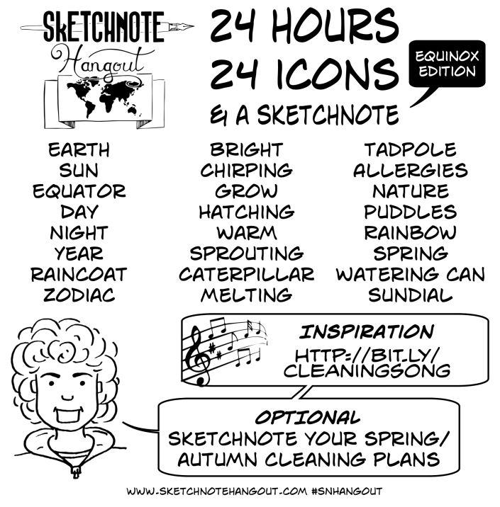 Words: Earth, Sun, Equator, Day, Night, Year, Raincoat, Zodiac, Bright, Chirping, Grow, Hatching, Warm, Sprouting, Caterpillar, Melting, Tadpole, Allergies, Nature, Puddles, Rainbow, Spring, Watering Can, and Sundial. Optional task: Sketchnote your spring cleaning plans